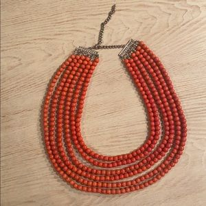 Red/Orange multi strand beaded necklace